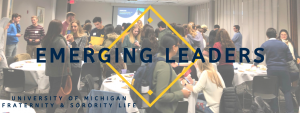 Logo for Fraternity & Sorority Life Merging Leaders Conference. Includes group of students at the conference and the title of the conference.